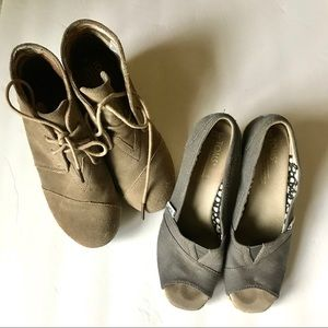 2 Pairs of Sz 6 Toms Wedge Shoes & Booties